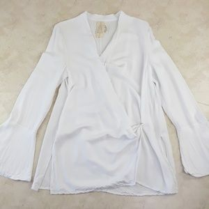 Free People White Wrap Bell Sleeve Blouse